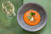 Salmorejo served with olive oil, Priego de Cordoba, Cordoba, Andalusia, Spain