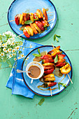 Grilled fruit skewers with salted caramel sauce