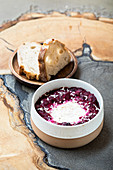 Purple shakhuka (beetroot with egg and horseradish)