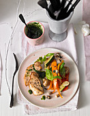 Chicken escalope with anti-pasti salad