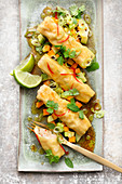 Cannelloni with chicken and prawns on a mango and avocado relish
