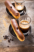 Eclairs with coffee cream and mocha beans