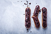 Eclairs with chocolate cream