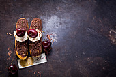 Black Forest cherry eclairs