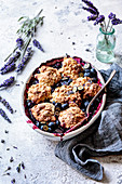 Blueberry cobbler with oat biscuits and lavender