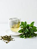 Minztee, frische Minze und getrocknete Teeblätter
