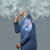 Man smoking cigarettes, illustration