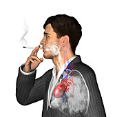 Man smoking cigarettes, illustration