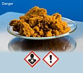 Iron III chloride with hazard pictograms