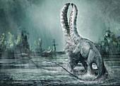 Brontosaurus dinosaurs fighting, illustration