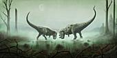 Two Ceratosaurus dinosaurs fighting, illustration