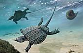 Psephoderma marine reptiles, illustration