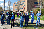 Parade for healthcare workers, Detroit, Michigan, USA