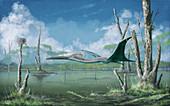 Azhdarchid pterosaur in flight, illustration