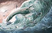 Jurassic marine life, illustration