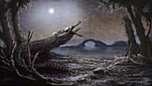 Lemmysuchus prehistoric crocodyliform, illustration