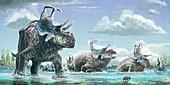 Machairoceratops dinosaurs, illustration