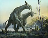 Paraceratherium prehistoric mammals, illustration