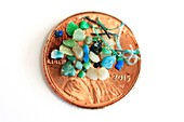 Microplastics on a coin