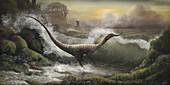 Sarcosaurus dinosaur hunting fish, illustration