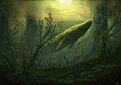Tiktaalik prehistoric fish, illustration