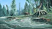 Troodon dinosaurs feeding, illustration