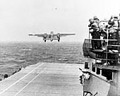 B-25 bomber taking off for Doolittle Raid, 1942