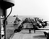 B-25 Mitchell bombers on USS Hornet, Doolittle Raid, 1942