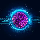 Coronavirus and digital technology, illustration