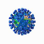 Coronavirus as world map, illustration
