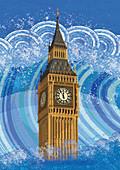 Big Ben submerged in rising flood water, illustration