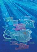 Shoal of plastic bags, illustration