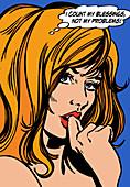 Woman practising positive thinking, illustration