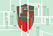 Building forming shield in city, illustration