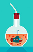 Scientists researching coronavirus, illustration