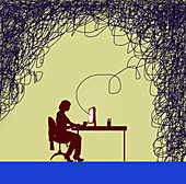 Woman on computer linked to tangled line, illustration