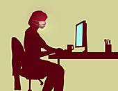 Woman self isolating and working from home, illustration