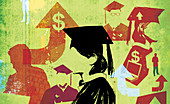 Rising costs for university students, illustration