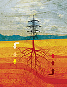 Electricity pylon with tree roots, illustration