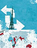 Global telecommunications, illustration