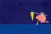 Brain chasing dangling carrot on a stick, illustration