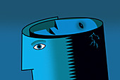 Face inside of man's cracked head, illustration