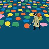 Man collecting speech bubbles, illustration