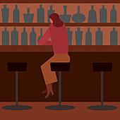 Woman drinking alone in bar, illustration