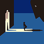 Man being watched by shadowy figures, illustration