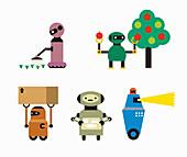 Robots doing jobs, illustration