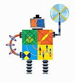 Robot problem solving, illustration