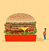 Overweight boy looking at giant cheeseburger, illustration