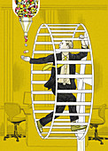 Businessman in hamster wheel taking pills, illustration