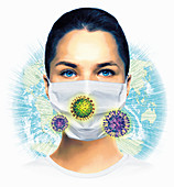 Global viral pandemic, conceptual illustration